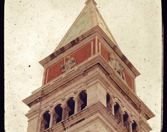 SALE: Campanile di San Marco St Mark's Square Venice Italy travel photography beige vintage dreamy clock tower angel Gabriel historical TTV