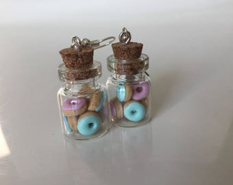 Earrings donuts polymer clay glass jar