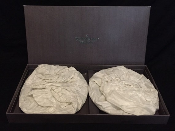 """Free Shipping-Set Of Two-New In Box-Waterford-Crystal-Lismore-8""""-Salad Plates-Made In Ireland-Master Blower-John Moloney"""