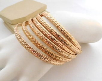Vintage Retro Set 6 18k Gold Tone Layering Bangle Bracelet Stack Lot Set P13