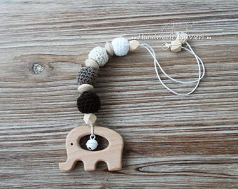 "Maxi Cosi pendant ""Elephant"", brown, crochet"