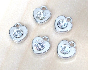 Silver heart charms, set of 5, dainty heart charms, tiny pendant heart, diamond heart, silver hearts, rhinestone hearts, jewelry supplies