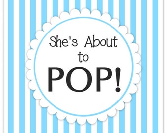 Baby Shower About to Pop labels, Blue Stripes, Square About to Pop Stickers, Baby Shower Labels