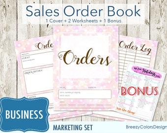 Small Business Worksheet Bundle Pastel, Set of 4 Marketing Kit, Craft Show Printable Order Form Template, Sales Book Tracker, Branding Pack