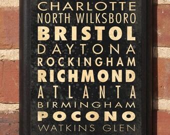 NASCAR Track List v1 Wall Art Sign Plaque Race Racing Speedway Home Decor Gift Present Daytona Bristol Darlington Classic SHIPPING INCLUDED