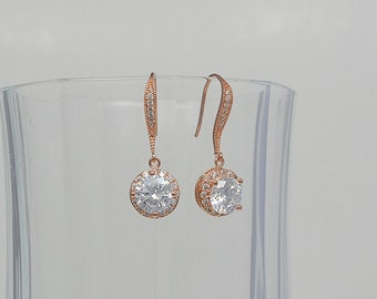 Rose Gold Tone Bridal Cubic Zirconia Crystal Earrings, Ear Wires, Silver Tone, Sydney - Will Ship in 1-3 Business Days