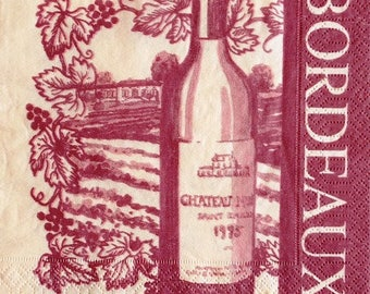 TOWEL in paper #AL033 Bordeaux wine bottle