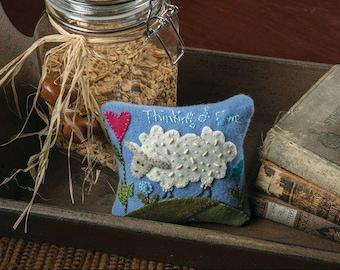 Wool Applique Pin Cushion -Thinking of Ewe -KIT WITH PATTERN