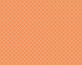 Orange Mini Quatrefoil Fabric, Riley Blake, 100% Cotton, Orange Quatrefoil