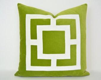 Lime Green Pillow Cover -  Green Velvet Pillow Cover with Off-White Velvet Applique