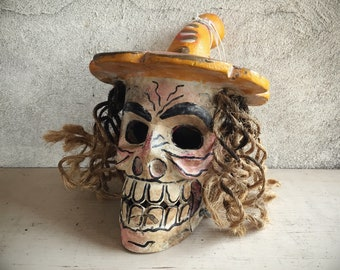 Painted and Carved Wooden Skull Sculpture, Mexican Folk Art, Day of the Dead Skeleton