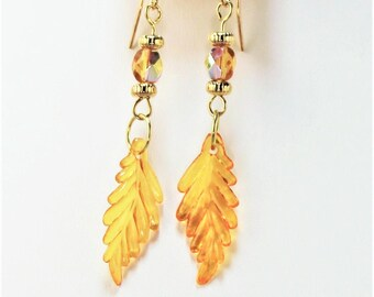 Autumn gold chestnut leaf earrings on gold plated hangers