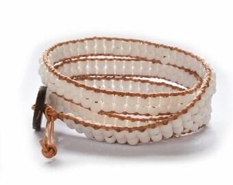 Seed Bead Leather Wrap Bracelet