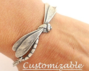 Steampunk Dragonfly Bracelet in Silver Ox or Brass Finish, Can Be Customized, Add On Initials & Birthstones Available