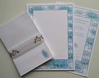 Writing Paper and Envelopes Set, Blue Chrysanthemum Design