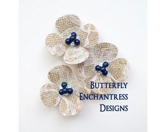 Lace Burlap Wedding Flowers, Rustic Hair Accessories, Something Blue Wedding - 3 Hydrangea Flower Hair Combs - Dark Blue Pearl Centers