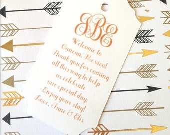 Monogram with custom color & message, sets of twelve, initials, custom initials, paper tags, tags, wedding tags, wedding favors, initials