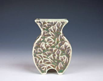 Small handmade ceramic vase with surface pattern, porcelain pottery, made from slabs, grey green