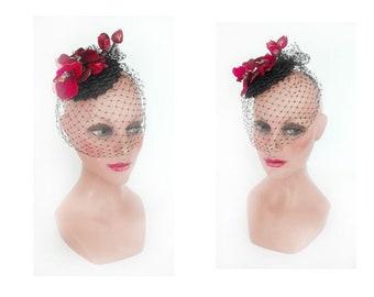 fascinator veil Orchid Ascot pillbox hat, woman Hat Red wedding, ceremony, Hütchen Black Straw Hat