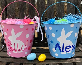 personalized pink or blue Easter bucket basket Storage bucket . Metal 5 quart