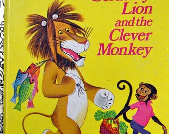 """Vintage Children's Book """"The Tawny Scrawney Lion and the Clever Monkey"""" Little Golden Book  First Printing Last Minute Gift"""