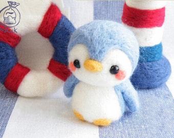 Needle felting animals Penguin DIY kit for beginners. animal Wool Needle Felt Craft novice handmade cute gift handmade set