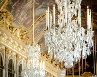 Versailles Kronleuchter Foto - Paris Fotografie - Soft, Vintage, Retro - Schloss Versailles - Kronleuchter Fotografie - Spiegelsaal