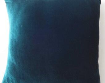 Teal blue  Velvet pillow  cover. decorative velvet  throw pillow.  Euro sham  custom  made. 26 inch 65x65 cm