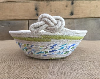 Directions Basket, Decorative basket, Rope Basket, Coiled Rope Basket, Desk Organizer, Woven Fabric Rope Basket with knot detail