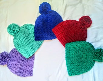 Ribbed Chunky Crochet Pompom Hat (Variety of Colours)