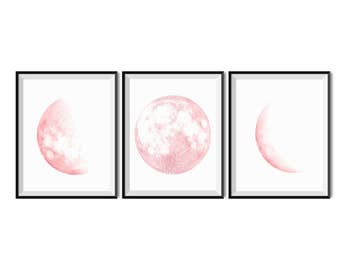 Pink moon phases wall art,  Set of 3 prints, Printable set of 3 wall art, Moon print,