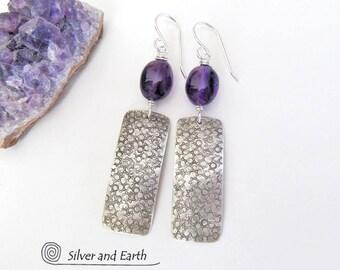 Amethyst Sterling Silver Earrings, February Birthstone, Handmade Sterling Jewelry, Purple Stone Earrings, Modern Silver Dangle, Gift for Her