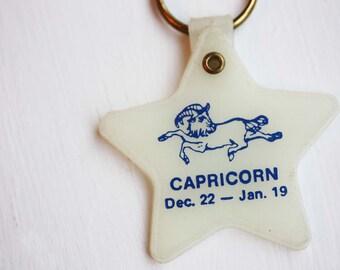 Capricorn Star Keychain, Astrology Keychain, Vintage Keychain, Plastic Keychain, Zodiac Keychain, Capricorn Keychain, Star Keychain