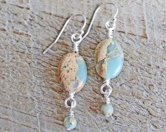 African Opal Natural Gemstone Earrings, Gemstone Healing, Earthy, Tribal, Boho