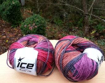 Red, Purple, Dark Grey,Brown Knitting yarn. Lot of 2 Skeins Ice Yarns. Multicolored yarn. Acrylic yarn. Yarn for knitting. Vegan Friendly!