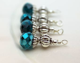 Blue Green Crystal and Silver Ribbed Bead Earring Dangle, Necklace Pendant, Wedding Jewelry, Bridemaid Charms, Jewelry Making