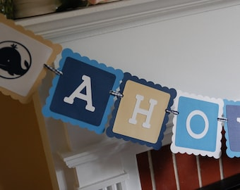 Ahoy Its A Boy Banner, Nautical Baby Shower, Whale Banner, Whale Baby Shower,