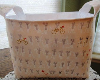 Storage Organizer Basket Container Bins Fabric - Mouse Mice Riding Bicycle - Peach