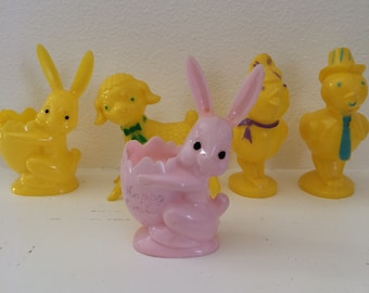 vintage easter plastic candy container,  bunny, chick and lamb, set of 5.