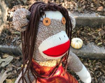 Autumn Baker sock monkey -Ready to ship!