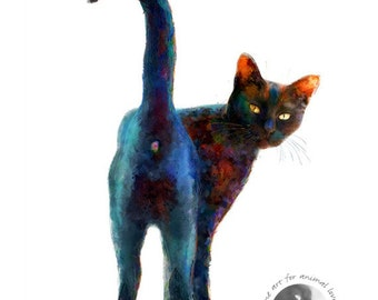 Black Cat Print - Black And Proud - Limited Edition Art Print - Cheeky Kitty Print - Free Shipping