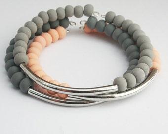 Minimalist Beaded Cuff, Set of 3 Bracelets, Modern Soft Grey Pastel Peach Bracelet, Silver Bar Tube Bead Stacking Bracelet Trend