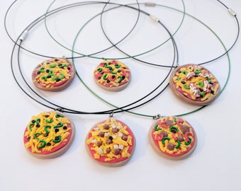 Handmade Polymer Clay Pizza Necklace