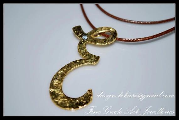 Monogram Sterling Silver Gold plated Jewelry Necklace brown cordon Rhinestone Crystal Fine Greek Art Best Gift idea for her Woman Girlfriend
