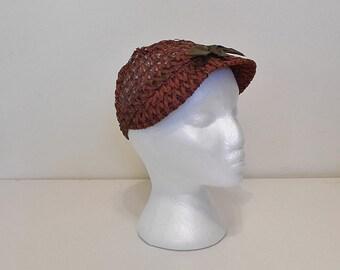 Vintage 50s 60s Hat -- Brown Raffia Short Brim Hat