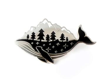 Silver Whale Enamel Pin (hard enamel pin lapel pin badge enamel jewelry cute whale pin jewelry mountains whale cloisonne backpack pins)