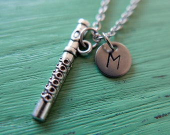 Flute music Initial Necklace Monogram Stainless steel chain