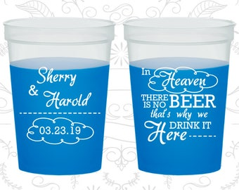 In Heaven there is no beer, that why we drink it here, Plastic Mood Cups, Cloud, Blue Mood Cups (280)