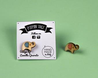 Wooden and Steel EARRINGS, laser cut, hypoallergenic: Tiny ELEPHANTS
