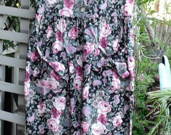 """80's Jumpsuit/ Rose Print Cotton Chintz/ Label """"You Too Babes"""", Size 5, Made in USA/ Retro Jumpsuit/ Shabbyfab Funwear"""